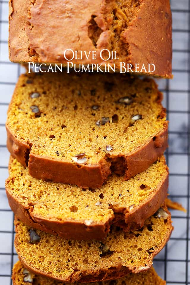 Sliced Pumpkin Bread set on a cooling rack.