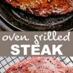 oven grilled steak pin image