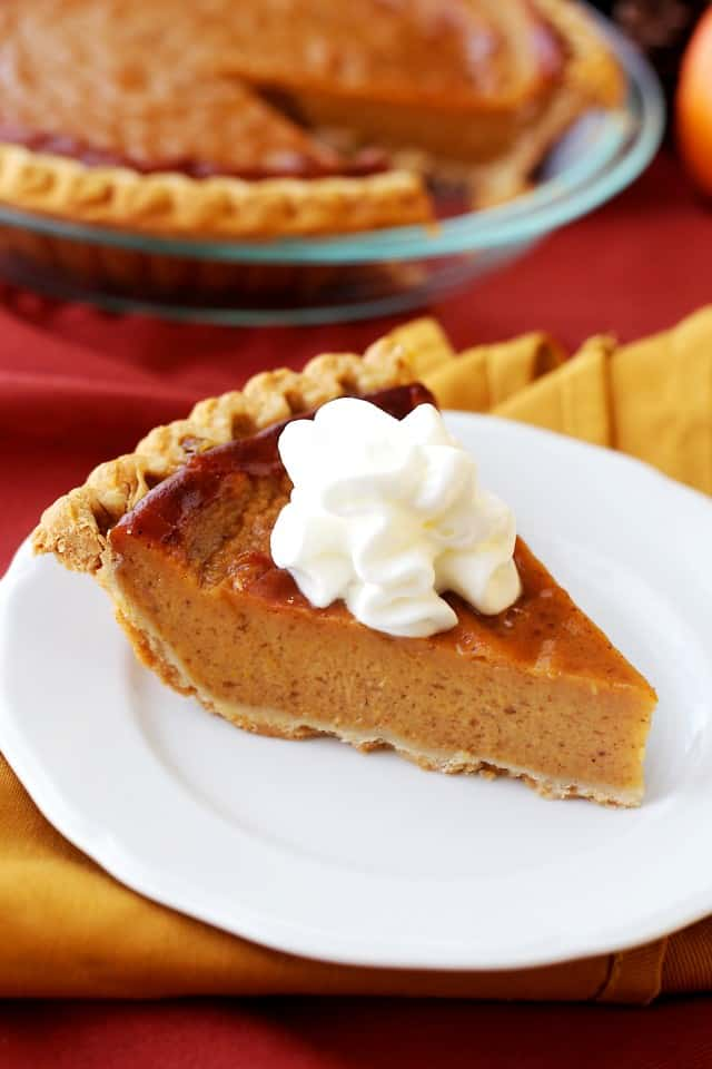 Lightened-Up Pumpkin Pie - Amazingly rich, creamy, and very easy to make, lightened-up Pumpkin Pie.
