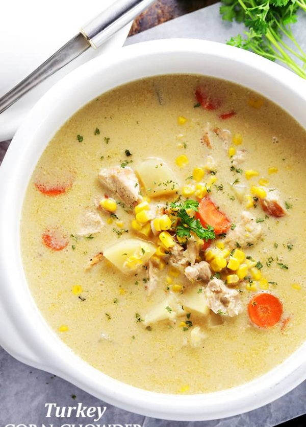 Turkey Corn Chowder - One pot and 30 minutes is all you will need to make this delicious and hearty, quick-cooking chowder, loaded with turkey and corn.