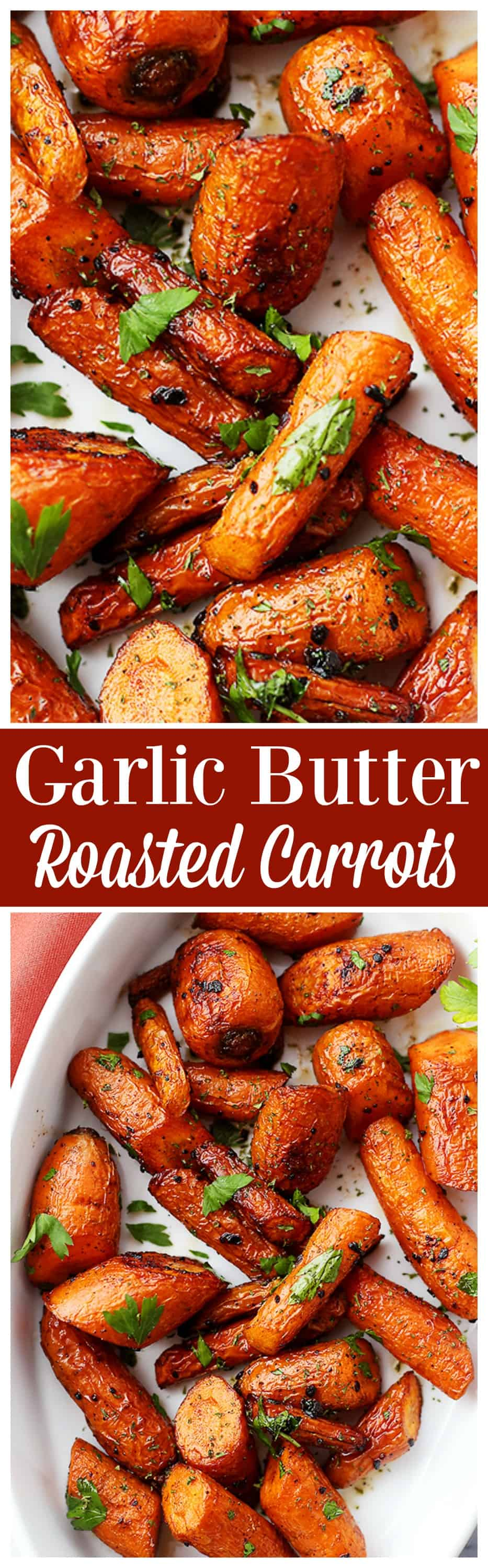 Ridiculously easy to make, tender, and SO incredibly delicious roasted #carrots with garlic butter. The best veggie #side_dish you'll ever make!