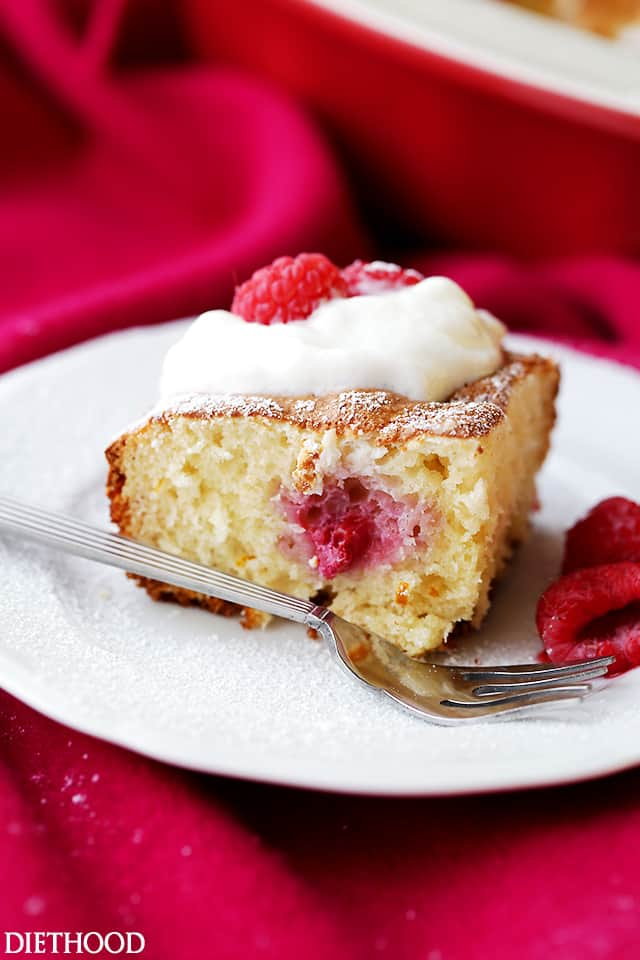 Raspberry Cream Cheese Coffee Cake - Lightened-up, quick and easy Raspberry Cream Cheese Coffee Cake studded with fresh raspberries and finished off with a fluffy cream cheese topping.