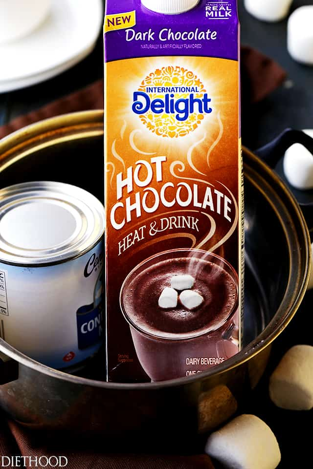 2-Ingredient Creamy Dark Hot Chocolate - Made with only 2 ingredients, this comforting, rich and creamy dark hot chocolate is perfect for those chilly winter nights.