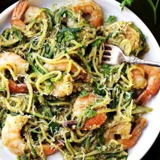 Pesto Zucchini Noodles and Shrimp Recipe