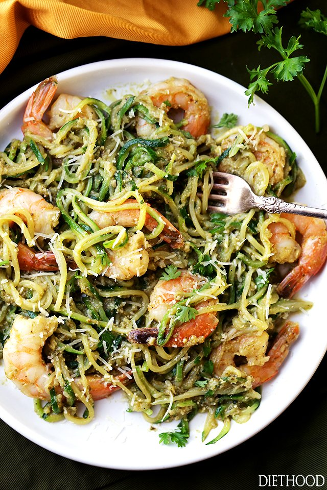 Pesto zucchini noodles and shrimp recipe diethood What to make with shrimp for dinner