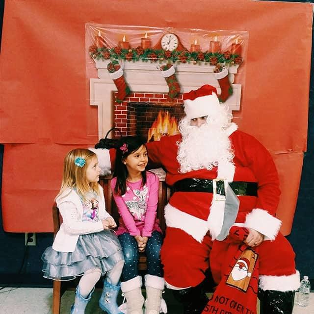 Aleksandra and Ana with Santa