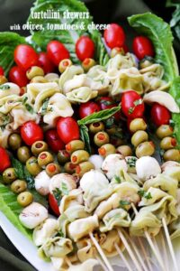 Tortellini Skewers with Olives Tomatoes and Cheese | Holiday Appetizer