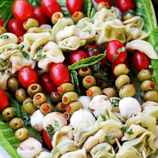 Tortellini Skewers with Olives Tomatoes and Cheese Recipe