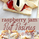 Raspberry Puff Pastries long pin image