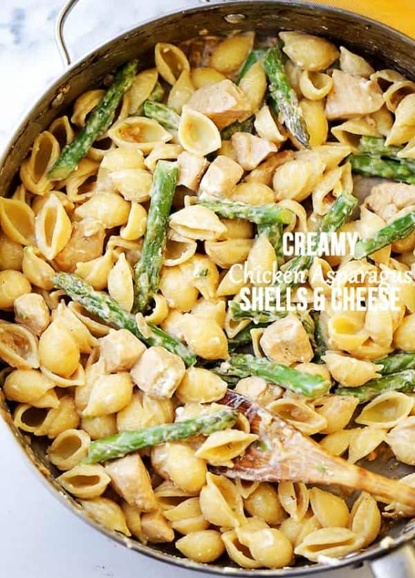 Creamy Chicken Asparagus Shells and Cheese Recipe - Lightened-up, yet perfectly creamy homemade shells and cheese made with chicken, asparagus, cream cheese and feta.