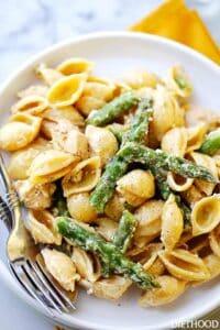 Creamy Chicken Asparagus Pasta and Cheese Recipe | Easy Dinner Idea