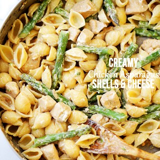Creamy Chicken Asparagus Shells and Cheese Recipe