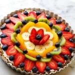 Healthy Breakfast Fruit Pizza Recipe - Smooth, lightened-up cream cheese frosting and beautiful fresh fruit sit atop of an incredibly delicious and sweet oatmeal crust.