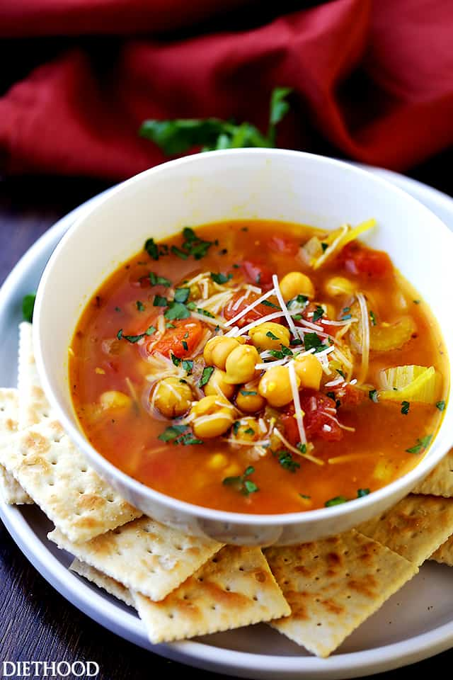 Chickpea Vegetable Soup - A comforting, hearty and healthy vegetable soup packed with chickpeas and loads of veggies. So simple to make, too! Just add everything to a soup pot and simmer!
