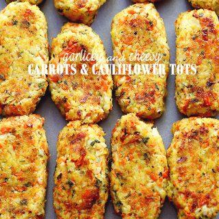 Garlicky & Cheesy Carrots and Cauliflower Tots