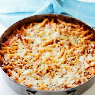 Skillet Baked Gluten Free Pasta with Ground Turkey and Tomatoes