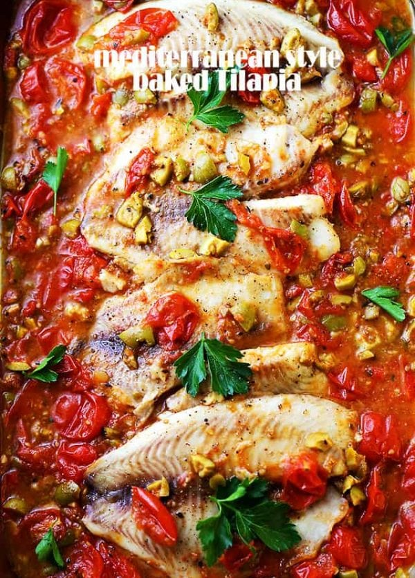 Mediterranean Style Baked Tilapia - A quick, easy, and healthy fish recipe with olives and tomatoes that's perfect for a weeknight dinner, and fancy enough for a dinner party!