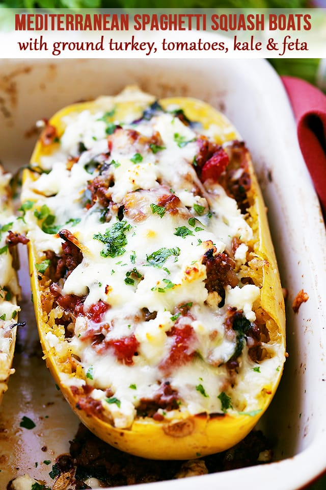 Mediterranean spaghetti squash boats recipe diethood mediterranean spaghetti squash boats delicious healthy easy to make spaghetti squash boats loaded forumfinder Choice Image