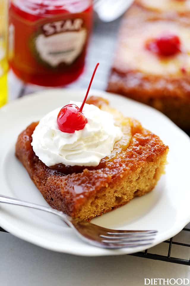 Pineapple Upside Down Yogurt Cake - An easy recipe for super moist homemade pineapple upside-down cake made with olive oil and yogurt, and a buttery-sweet brown sugar topping.