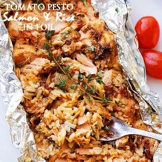 Tomato Pesto Salmon and Rice Recipe Baked in Foil