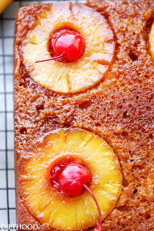 A close up top view of a Pineapple Upside Down Cake