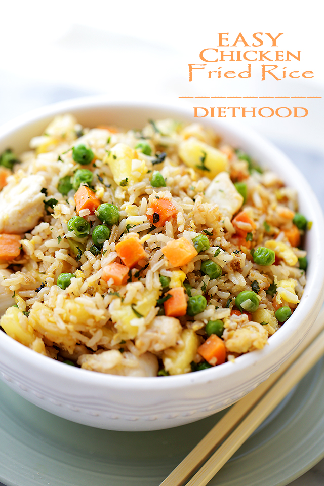 Easy Chicken Fried Rice - This Chicken Fried Rice is so much better than takeout, and you won't believe how easy AND quick it is to make!