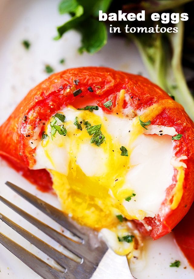 Baked Eggs In Tomato Cups Recipe Diethood