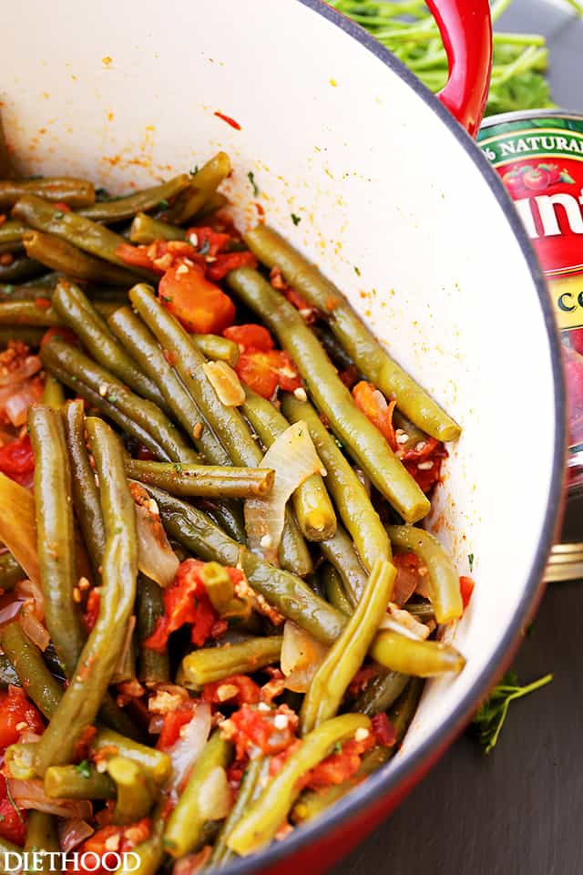 Cooked Green Beans and Tomatoes in a pot