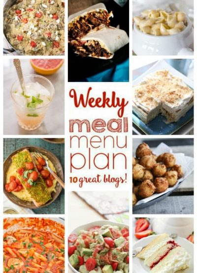 Weekly Meal Plan (Week 36) - 10 great bloggers bringing you a full week of recipes including dinner, sides dishes, and desserts!