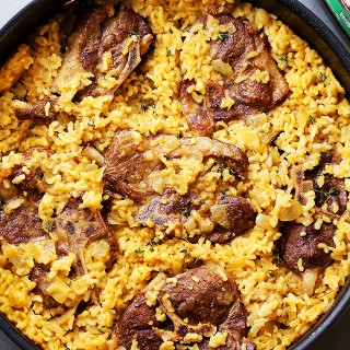 Mom's One Pot Oven-Baked Risotto with Lamb Chops Recipe