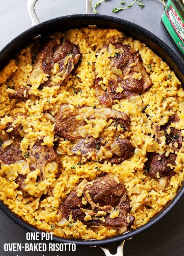 Mom's One Pot Oven-Baked Risotto with Lamb Chops Recipe - A super easy, yet stunning one pot meal that the whole family will love! AND the whole thing bakes in the oven, in just one pot!