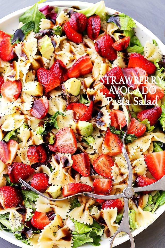 Strawberry Avocado Pasta Salad With Balsamic Glaze Recipe Diethood