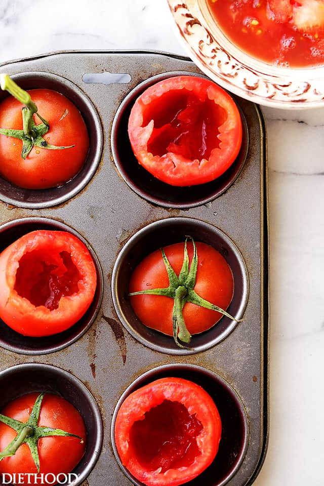 Baked Eggs in Tomato Cups - Simple, healthy and flavorful breakfast, brunch (even dinner!) recipe with eggs baked inside perfectly seasoned tomato cups.
