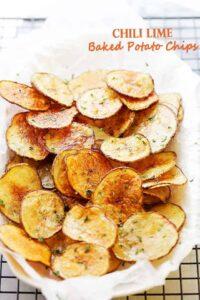Chili Lime Baked Potato Chips | Easy Homemade Potato Chips Recipe