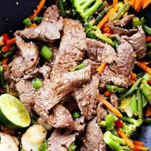 Ginger-Lime Beef Stir Fry Recipe - Quick, easy, flavor-packed beef and vegetables stir fry tossed with fresh ginger, lime and soy sauce. Perfectly delicious and it's just what your weeknight dinner menu needs.