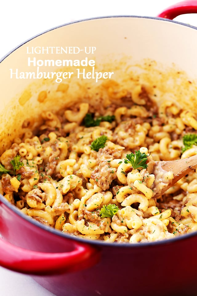 Lightened-Up Homemade Hamburger Helper - Ditch the boxed mix Hamburger Helper and make this easy, one-pot, healthier homemade version!