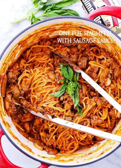One Pot Spaghetti with Sausage Sauce Recipe - Made with pork sausage, peppers, mushrooms and pasta, this easy, one pot dinner recipe is on the table in just 30 minutes!