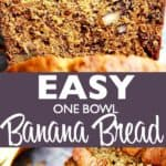 One Bowl Banana Bread Pin Image