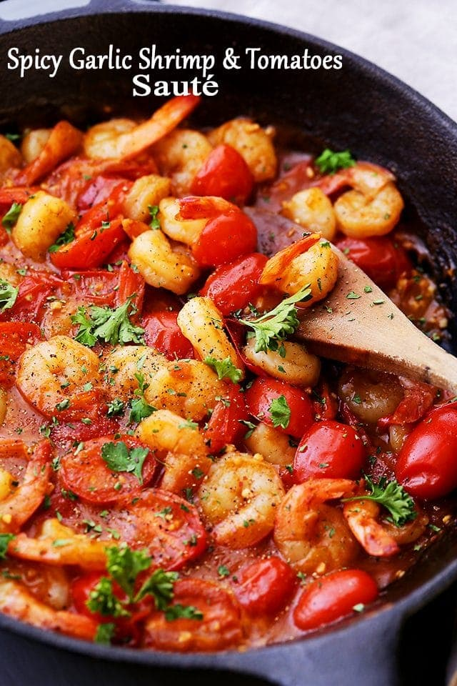 Spicy Garlic Shrimp And Tomatoes Saut 233 Diethood