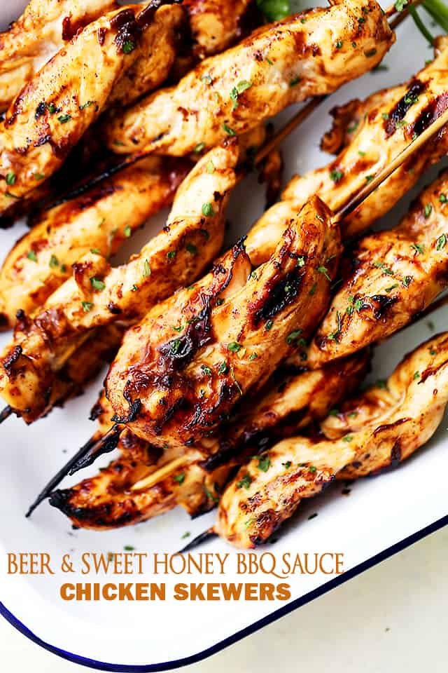 Beer and Sweet Honey BBQ Sauce Chicken Skewers - Sweet and savory chicken skewers marinated in the most delicious Sweet Honey BBQ Sauce and BEER!