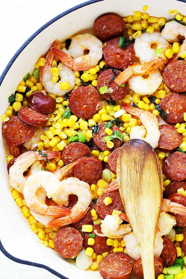 Shrimp, Chorizo and Corn Salad - Start your summer right with this amazing salad chock full of shrimp, tomatoes, corn and chorizo sausage.