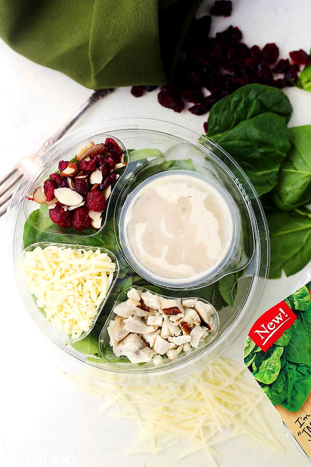 Organic Grilled Chicken Spinach Salad - A single-serve salad that is organic, non-GMO and gluten free!