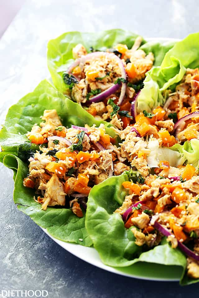 Thai Chicken Lettuce Wraps served on a plate.