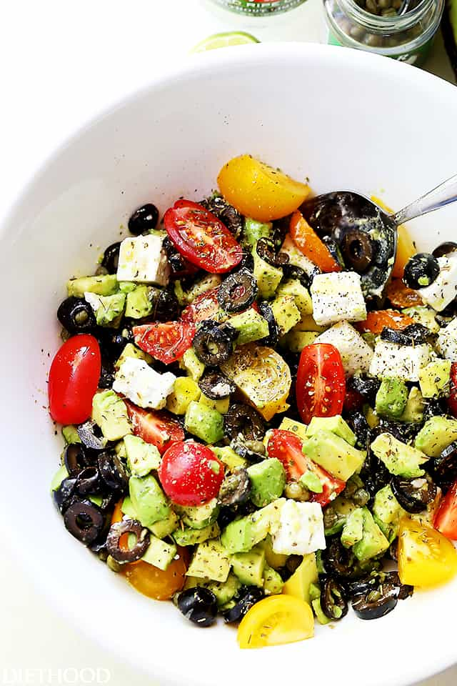 Olives and Avocado Salad with Tomatoes and Feta Cheese ...