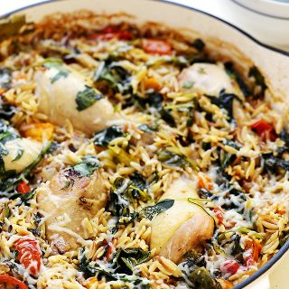 One Pot Chicken and Orzo with Spinach and Tomatoes