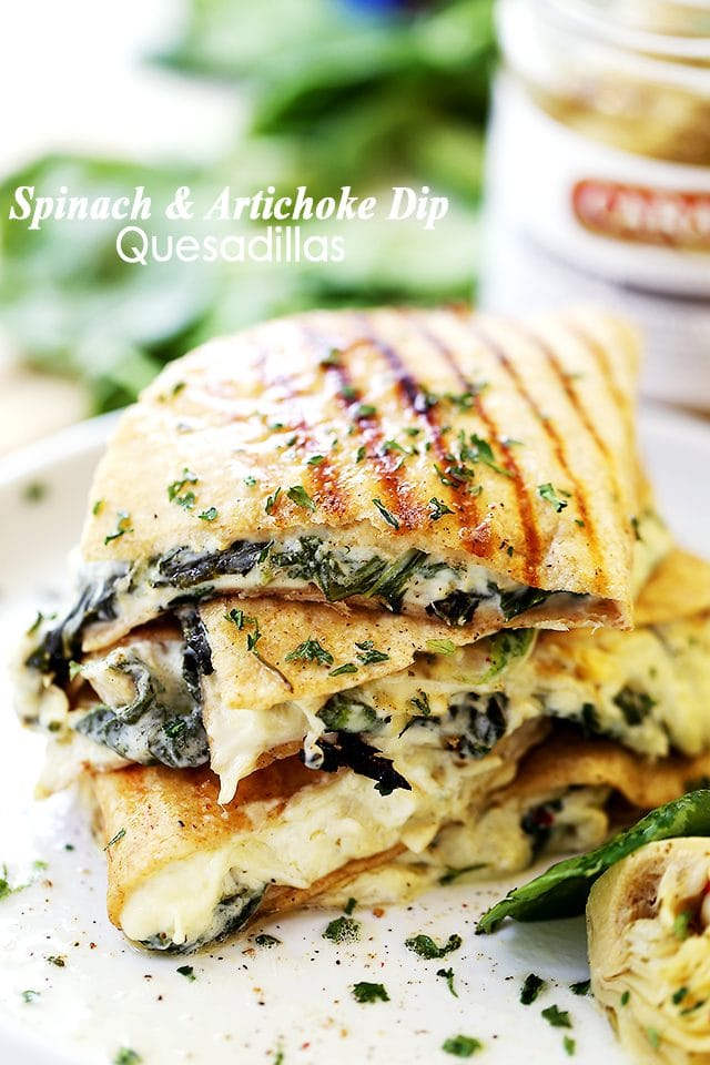 Stack of Spinach and Artichoke Dip Quesadillas one on top of the other