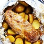 Grilled Peach-Glazed Pork Tenderloin Foil Packet with Potatoes