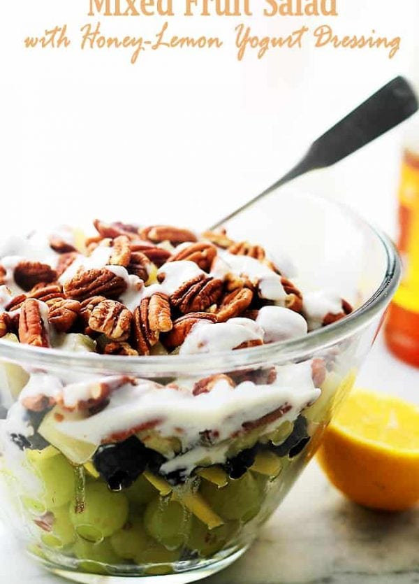 Mixed Fruit Salad with Honey-Lemon Yogurt Dressing - Perfect Summer Fruit Salad with grapes, blackberries, apples, pineapples and crunchy pecans mixed with a simple, yet cool and refreshing Honey-Lemon Yogurt Dressing.