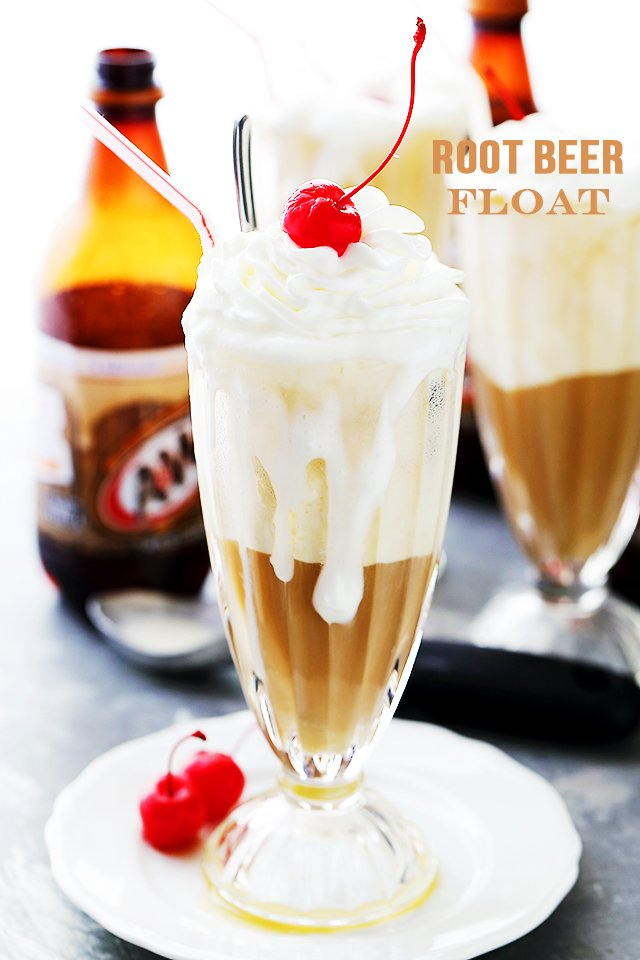 Root Beer Floats with cherry on top.