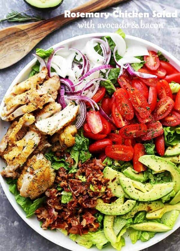 Rosemary Chicken Salad with Avocado and Bacon - A vibrant, fresh, and incredibly delicious chicken salad packed with avocado, bacon, tomatoes and onions, all drizzled with a homemade Rosemary Vinaigrette.